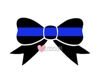 Thin Blue Line Bow - Vinyl Decal - Police Support - Yeti Decal - Car Decal - Sticker