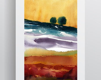 Watercolour Landscape - Yellow Purple Turquoise Red - A3 - A4 size - Fine Art Print - Limited Edition - Inspired by landscape in Tuscany