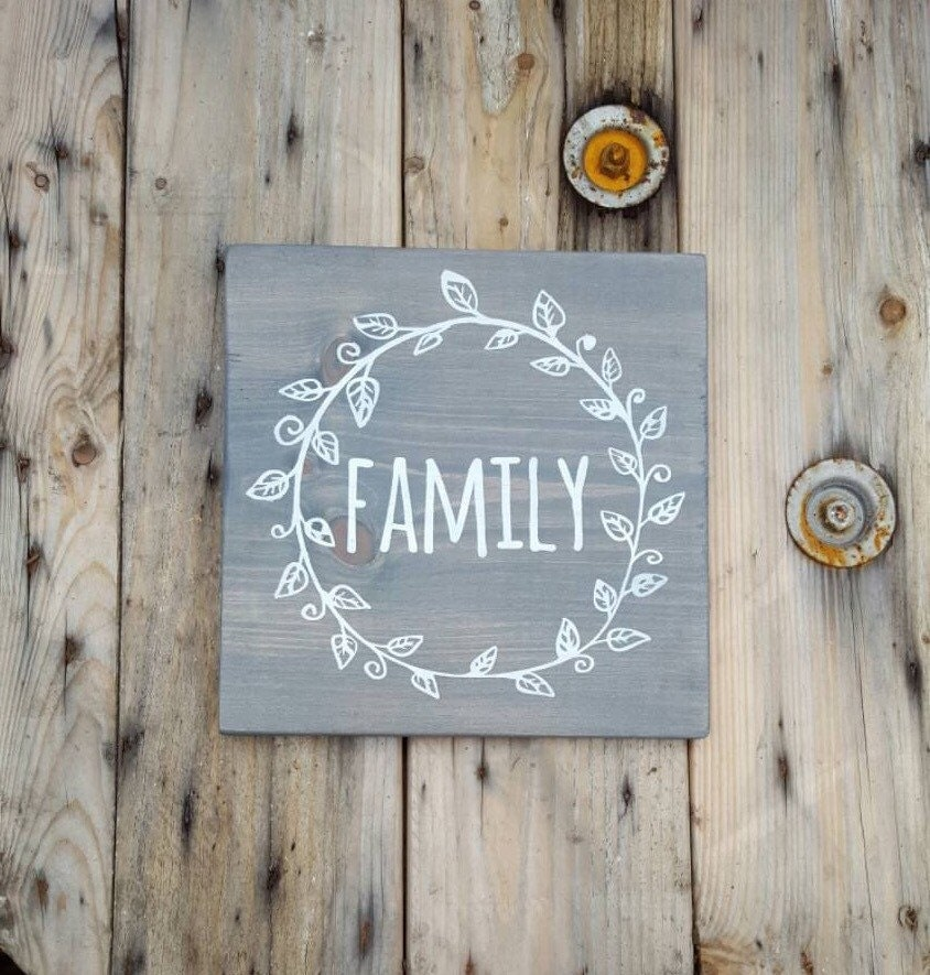 Family sign wooden rustic home decor wood