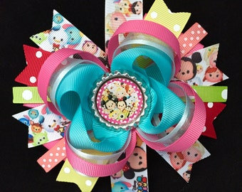 Tsum tsum hair bow-large tsum tsum hair bow-over the top tsum tsum hair bow-mutiple color tsum tsum bows-tsum tsum party favor-tsum tsum bow