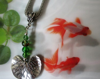 Lotus necklace, Lotus leaf necklace, Waterlily necklace, Antique silver plated necklace, zen necklace