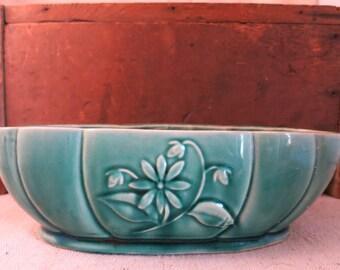 Vintage Oval Green Glazed Ceramic/Pottery Planter/Made in USA