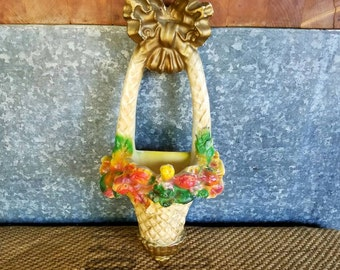Chalkware Flower Basket Wall Pocket, With Gold Bow And Flowers, 1940's, Anthropologie Colors And Style