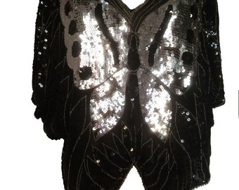 Stunning Vintage Black And Silver Sequinned Top With Butterfly Detail