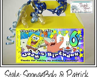 Sponge Bob BIRTHDAY Goody Box Favors Personalized with your childs name etc.