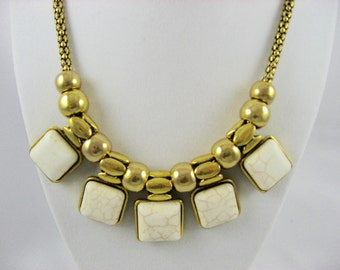 Gold Necklace, Ivory Necklace, Statement Necklace.  Bib Necklace, Ivory Jewelry, Ivory  Stone Necklace,  Gift For Her, Satin Gold Necklace