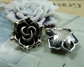 20 Flower Charms Antique Silver Tone 3D Rose Charms