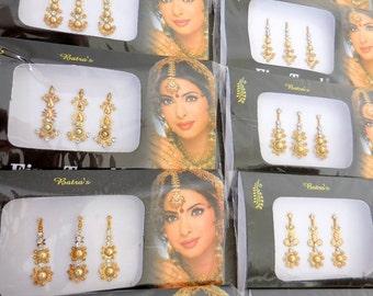 12 Gold/Silver/Black Bindi,Long bindi,Designer bindi,Gold Bindis,Wedding bindi,Stone Bindis,Indian Bindis,Bindi Sticker,Bindis,Face Jewels