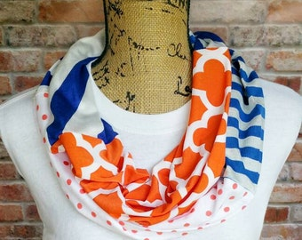 Blue and Orange Scarf - Team Spirit Scarf - Game Day Outfit - Lightweight Infinity Scarf - Blue and Orange Spirit Wear - Team Spirit Scarf