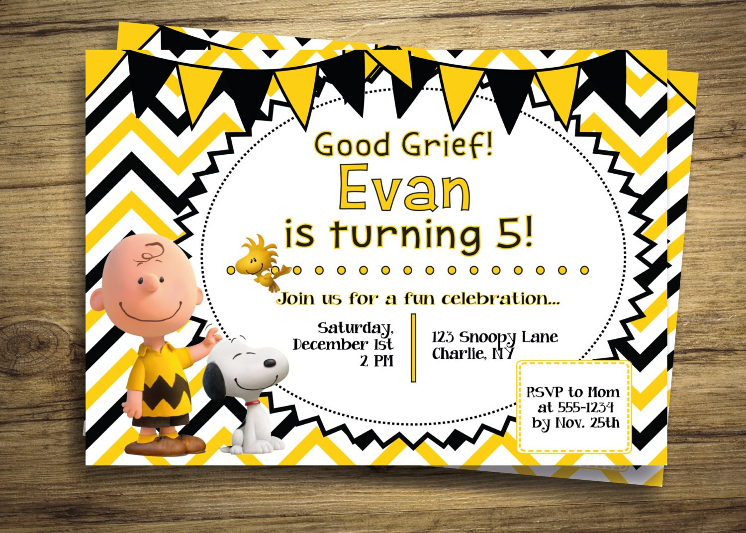 Charlie Brown & Snoopy Birthday Party Invitation Peanuts