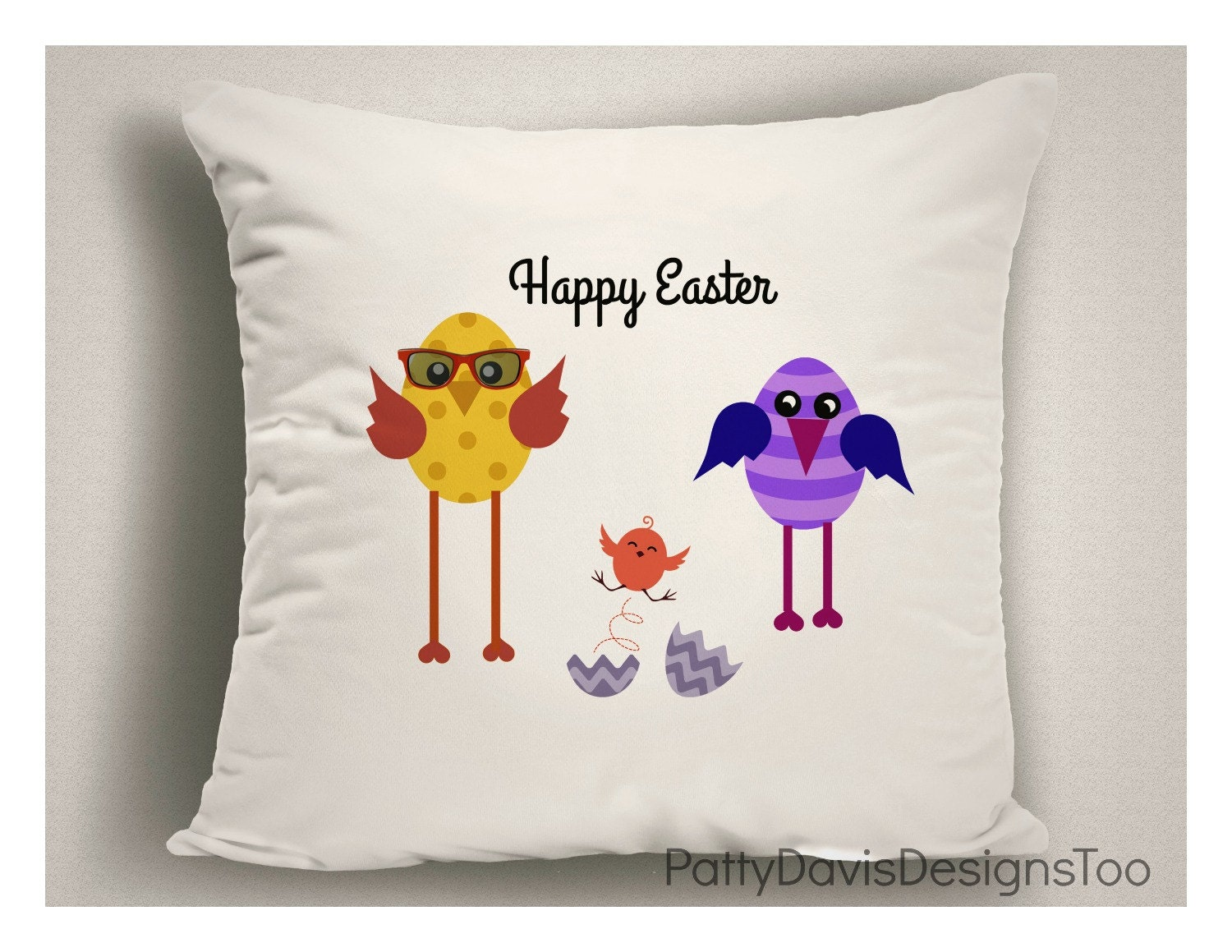 Easter Throw Pillow Covers : Easter Throw Pillows For Kids, Whimsical Happy Easter Pillow Covers, Easter Decorations ...