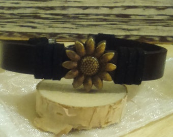 Size 7.0 Leather Bronze Colored Cuff Bracelet