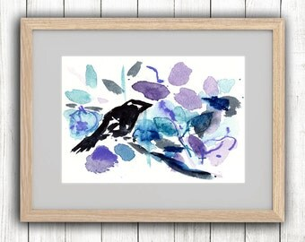 "Art print ""Little bird & blue Jazmin"" . Signed and numbered"