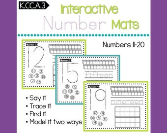 Number Mats 11-20 -- Count and Write Teen Numbers -- CCSS K.CC.A.3