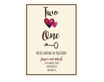Two Hearts, One Key DIY Printable Moving Announcement