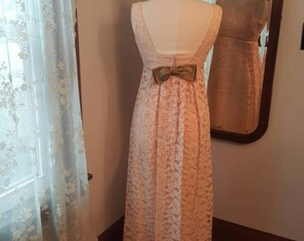 1950's 50's Vintage Peach Lace Dress Formal Gown 50s 1950s