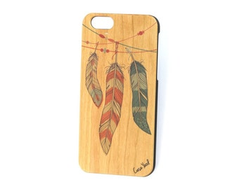 iPhone 7 case, iPhone 6s case, iPhone 6, iPhone 7 plus case, iPhone 6/6s Plus case. Feathers Colored wood case
