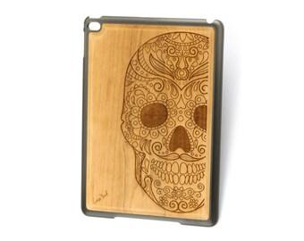 iPad Air case, iPad Mini case, iPad Mini 2 case, iPad 3 case, iPad engraved case, custom iPad case,Sugar Skull wood engraved case