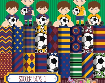Soccer Boys 1, Digital Papers, Clip art, Party Boys, Birthday, Soccer, Football, Boys Birthday