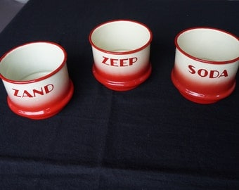 Zand Zeep Soda: airbrush, Spritzdekor set enamelled  containers for sand, soap and soda, Dutch Amsterdamse School or Art Deco style