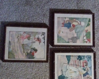 Set Of 3 Antique Mother Goose Illustrations Framed 1916 Blanche Fisher Wright