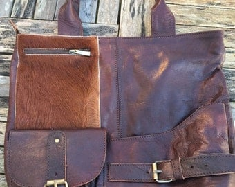 Goat skin detailed Moroccan leather handbag