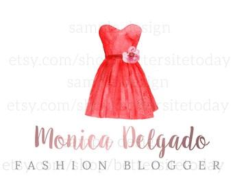 Fashion Blog Logo - Premade logo - Red dress - Fashion logo - Fashion blogger logo - Logo design - Red logo - Luxury logo - Watercolor logo