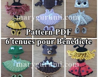 Crochet Pattern, pattern, tutorial, Amigurumi, dolls, 6 outfits for dolls Bénédicte (5 Pack)