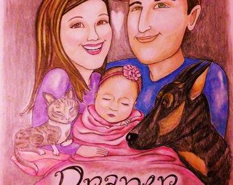 Family Caricature Portrait