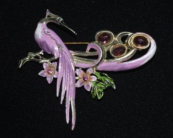 Art Nouveau enamel and rhinestone brooch pin