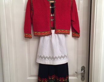 Hand knitted girl's 'bunad' with hand sewn Hardanger apron