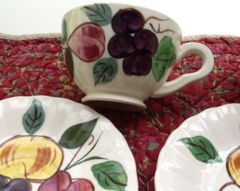 """Pair of Blue Ridge Pottery Cups and Saucers in the """"Fruit Punch"""" Pattern"""