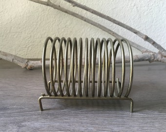 Vintage brass coil mail organizer desk accessory mid century function and cool