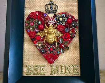 Be Mine Jeweled Red  Collage Heart in 5x7 frame