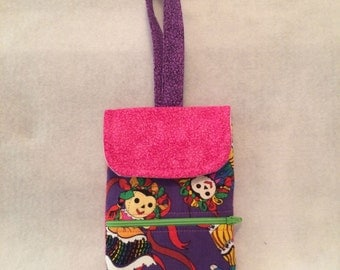 phone pouch wristlet w/embroidered design