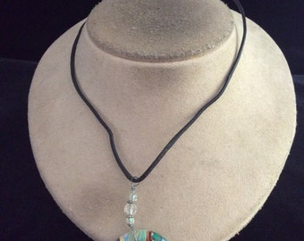 Vintage Sterling Silver Clasped Multi Colored Pendant Necklace
