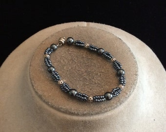 Vintage Gray-Blue Glass Beaded Bracelet