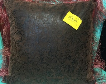 Upcycled reversible coffee sac pillow