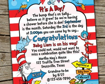 Dr seuss baby shower invitations Etsy