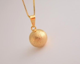 gold matte ball charm necklace ball necklace bridesmaid gift wedding gift everyday necklace
