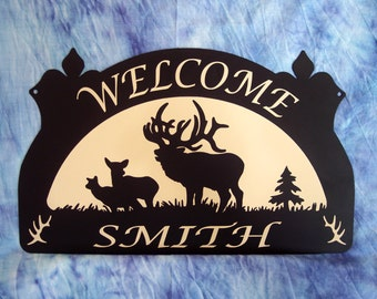 Personalized Metal Sign Elk, Calf, Cow