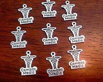 Bulk 25 Medical Charms, Antique Silver Charms, Combat Medic Charms, Army Charms, Nursing Charms, Craft and Jewelry Supplies, Findings