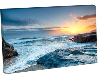 Sunset and waves at Booby's Bay a small cove Constantine Print on canvas XT2555