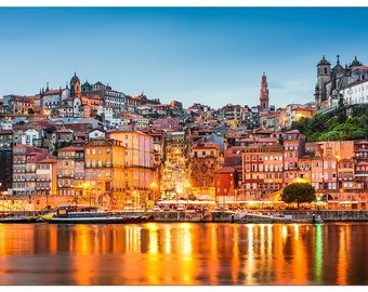 XEE367 Poster Print Cityscape Art Porto Portugal on the Douro River