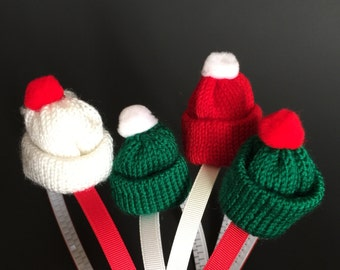 SALE!,Hat Haeadband,Little Girl Headband,christmas hair accessory,knitted hat,christmas hat,knit hat,photo prop,Tiny Hat,mini hat,santa hat
