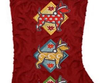 Embroidered Chihuahua Trio Christmas Stocking-