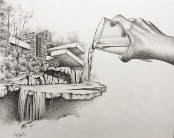 Man and Nature (pencil drawing inspired in Frank Lloyd Wright's Falling Water)