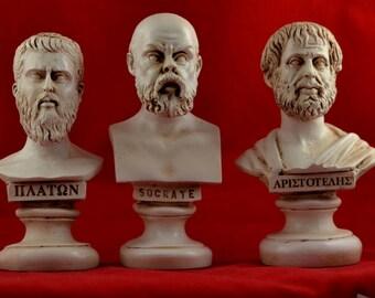 Socrates ,  Plato, Aristotle  Bust greek Great Philosophers Patina Set  NEW