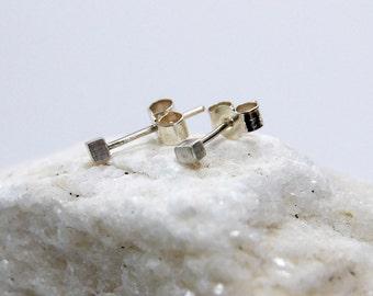 Sterling Silver Cube Stud Earrings