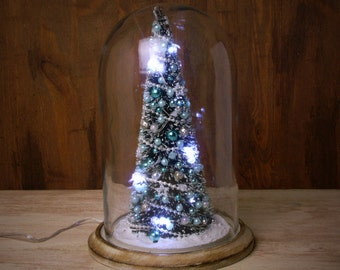 Illuminated Miniature Christmastree Under Glass